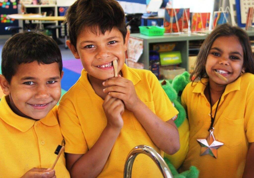 Central School students brushing their teeth - credit ABC News